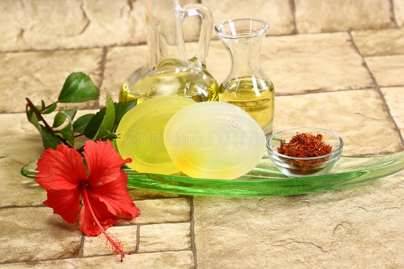 Indian Ayurvedic Soap or Handmade soap with Herbs.  stock photography