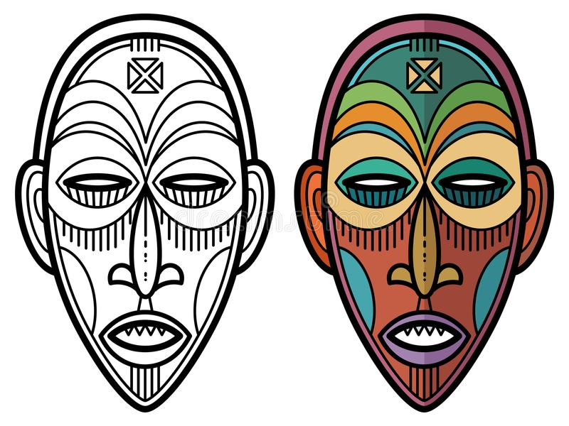 Indian aztec, african, mexican historic tribal mask royalty free illustration