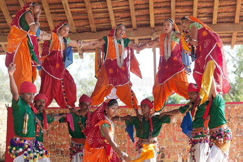 Indian band dancing classical traditional Rajasthani dance in Rajasthan state, India stock image