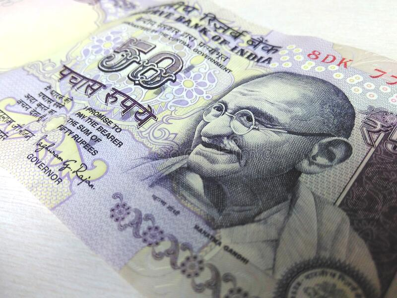 Indian banknote stock image