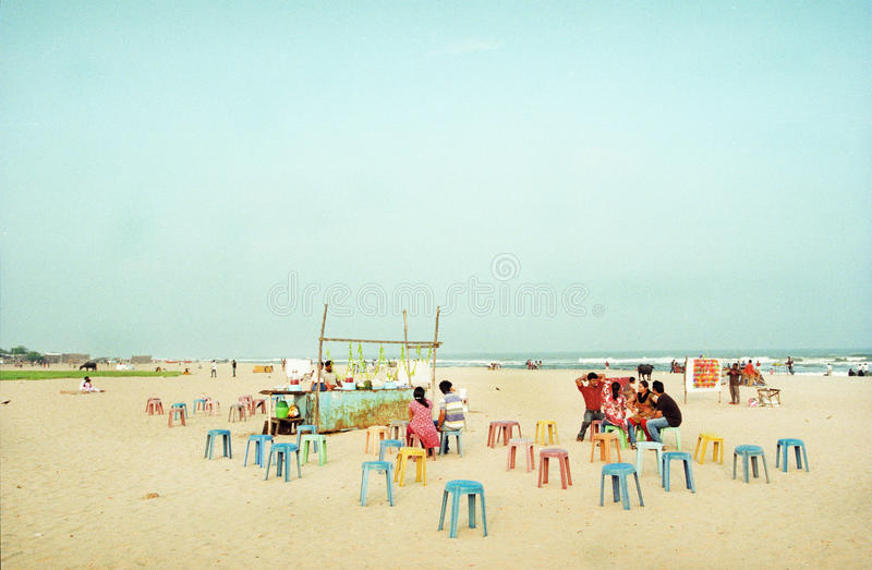 Indian beach with a local cafe royalty free stock photo