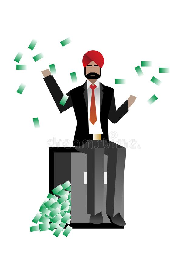 Free Indian Bearded Businessman Sitting On Bank Safe Royalty Free Stock Images - 114513949
