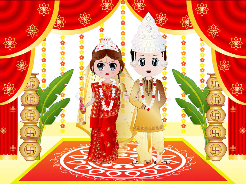 Indian Bengali Wedding. Illustration of an Indian Bengali Wedding with the Bride dressed in Sari and traditional ornaments and the Groom dressed in Dhoti