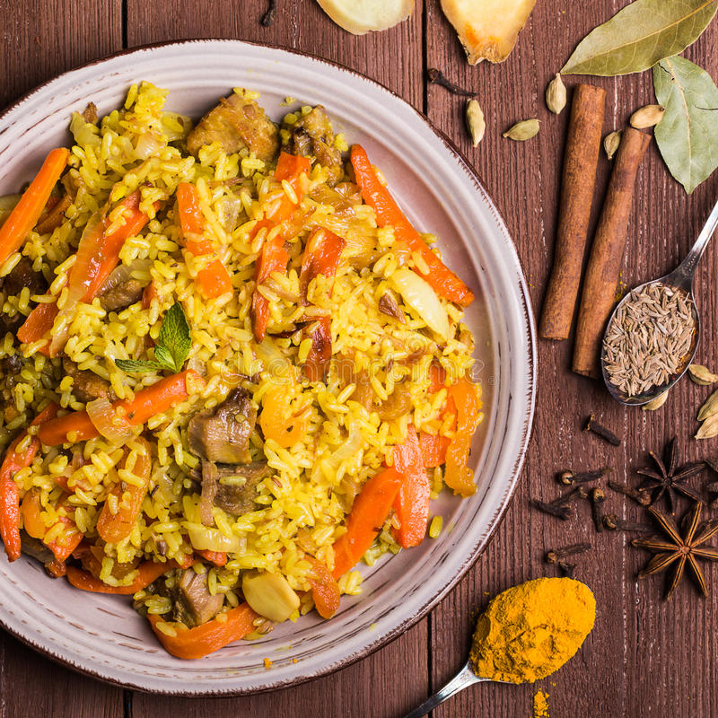 Indian Biryani with chicken and spices. In traditional style stock image