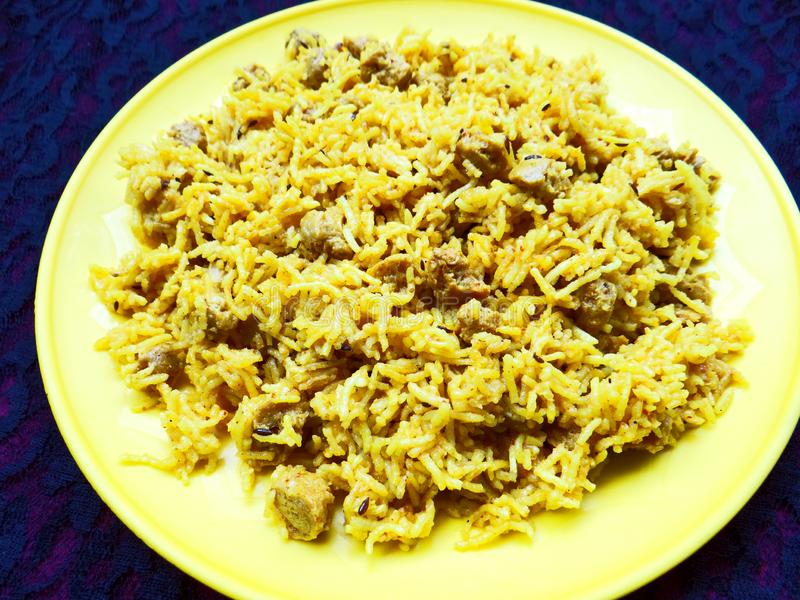 Indian biryani Pulav. Made up of basmati rice stock image