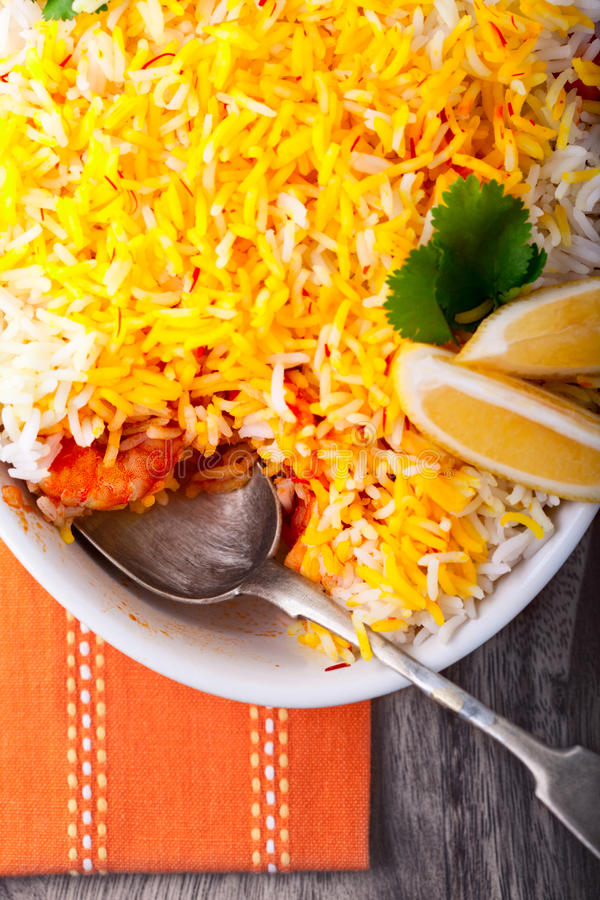 Indian Biryani with Shrimp. Placed on a table stock images