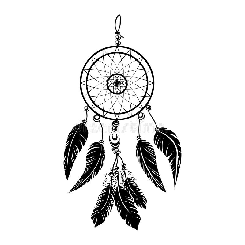 Indian black dream catcher vector dreamcatcher tattoo on white background royalty free illustration