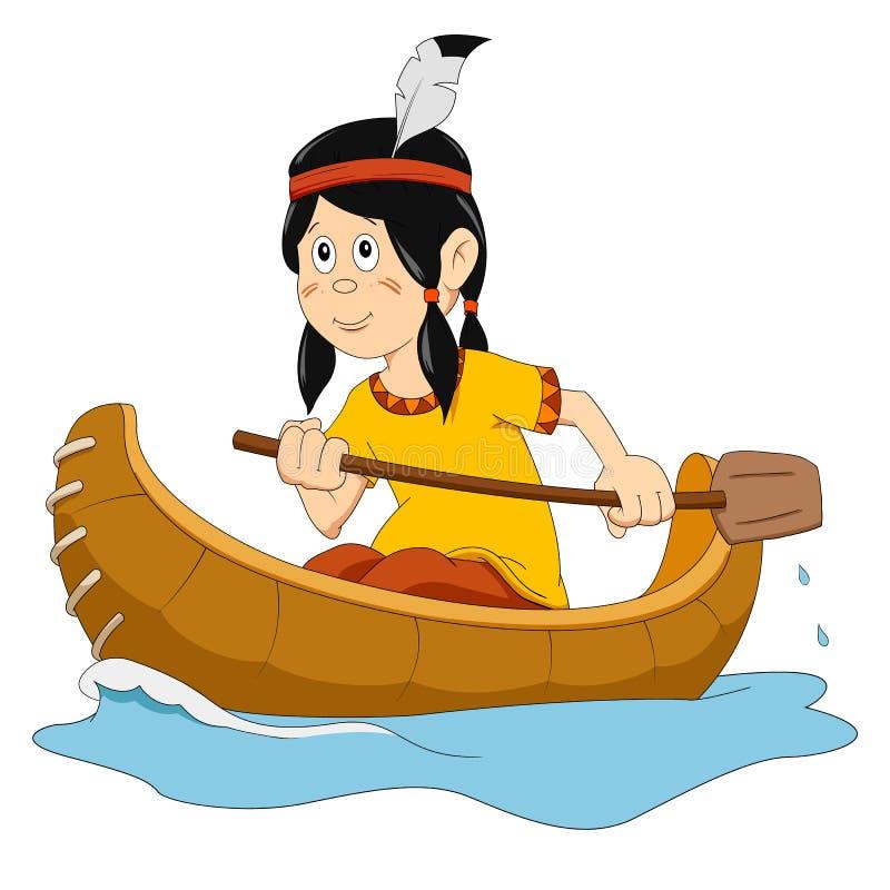 Cartoon Illustration Of Little Kid On The Canoe