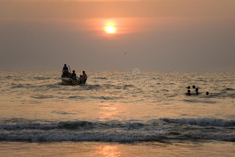 Indian boat at sunset 3 royalty free stock photography