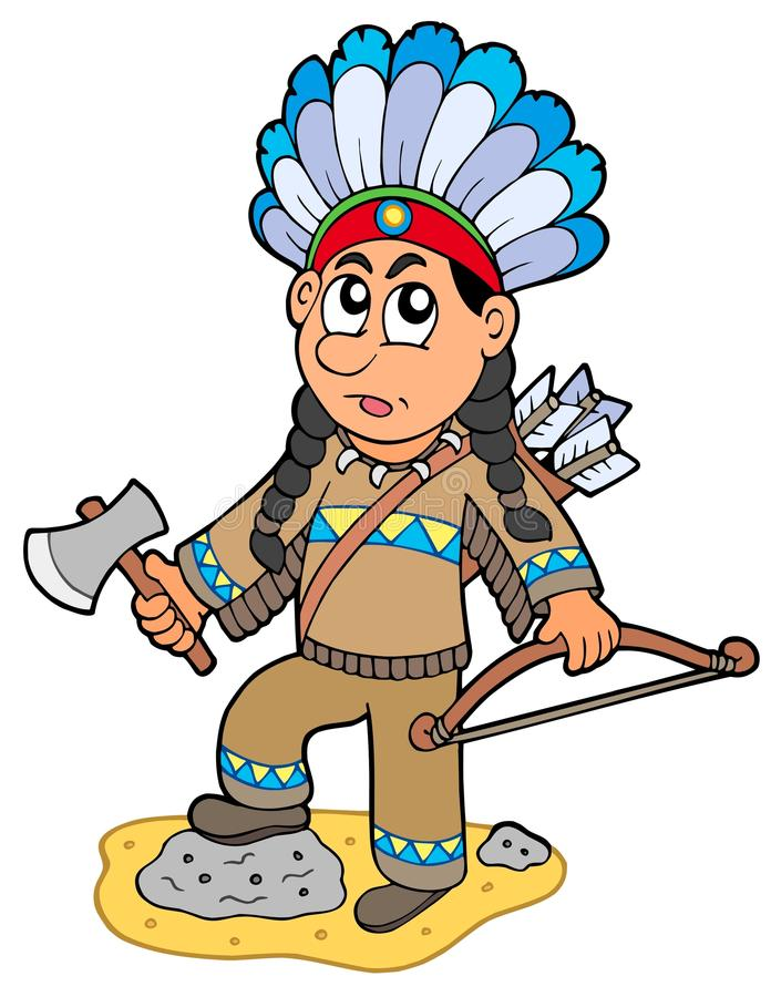 Indian boy with axe and bow stock illustration