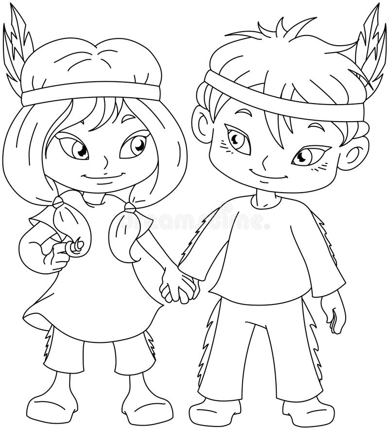 Indian Boy And Girl Holding Hands For Thanksgiving Coloring Page Stock Vector