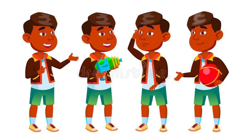 Indian Boy Kindergarten Kid Poses Set Vector. Preschooler Playing. Friendship. For Web, Poster, Booklet Design. Isolated. Indian Boy Kindergarten Kid Poses Set vector illustration