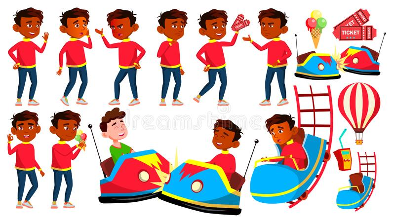 Indian Boy Poses Set Vector. Amusement Park. Drive, Fun. Young People. Summer Vacation. For Advertising, Placard, Print stock illustration