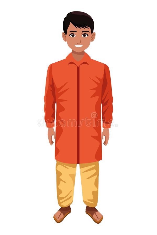 Indian boy wearing traditional hindu clothes royalty free illustration