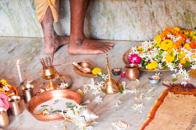 Indian Brahman priest does the worship of Deities called Puja. Indian culture and religion stock image