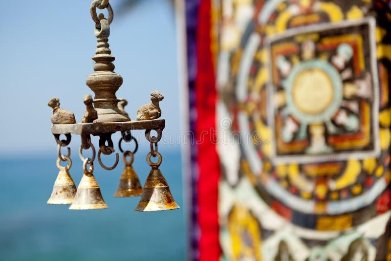 Indian brass sculpture at ocean background. Kerala India stock images