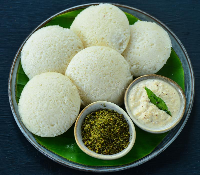 Indian Breakfast - idli with coconut chutney and curry leaves powder royalty free stock photography