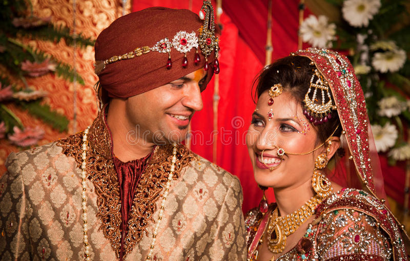 Indian bride and groom. Beautiful shot of newly wedded bride and groom