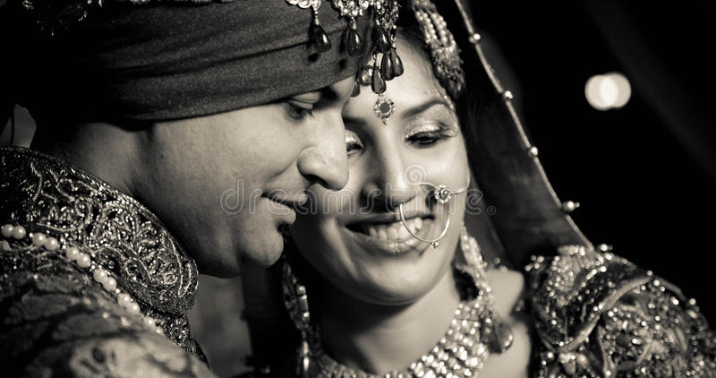 Indian bride and groom stock photos