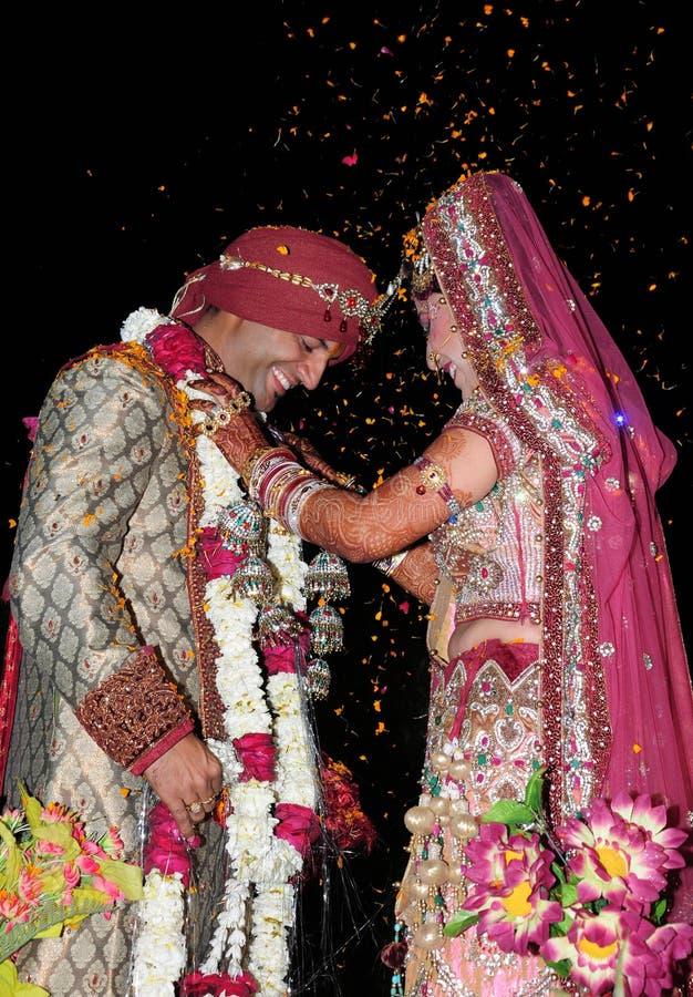 Indian bride and groom. Beautiful shot of indian punjabi bride and groom royalty free stock photos