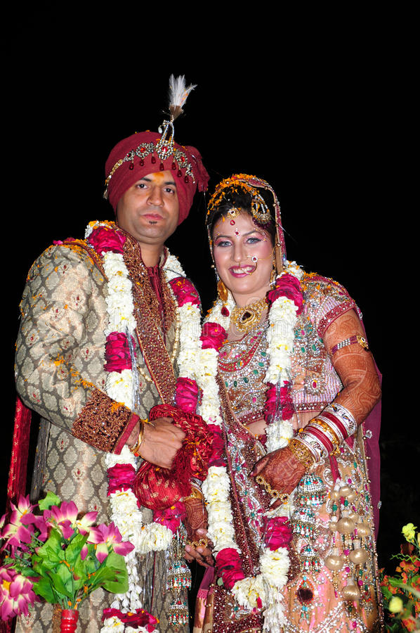 Indian bride and groom stock photo