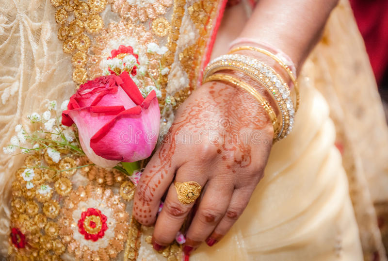Indian bride hand stock photo