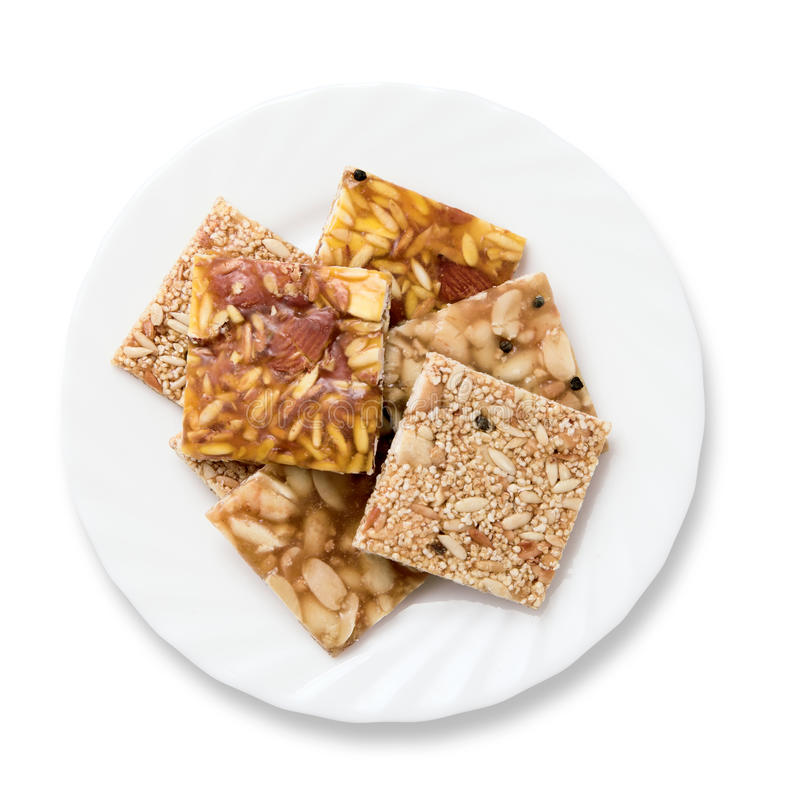 Indian brittle over white stock photos