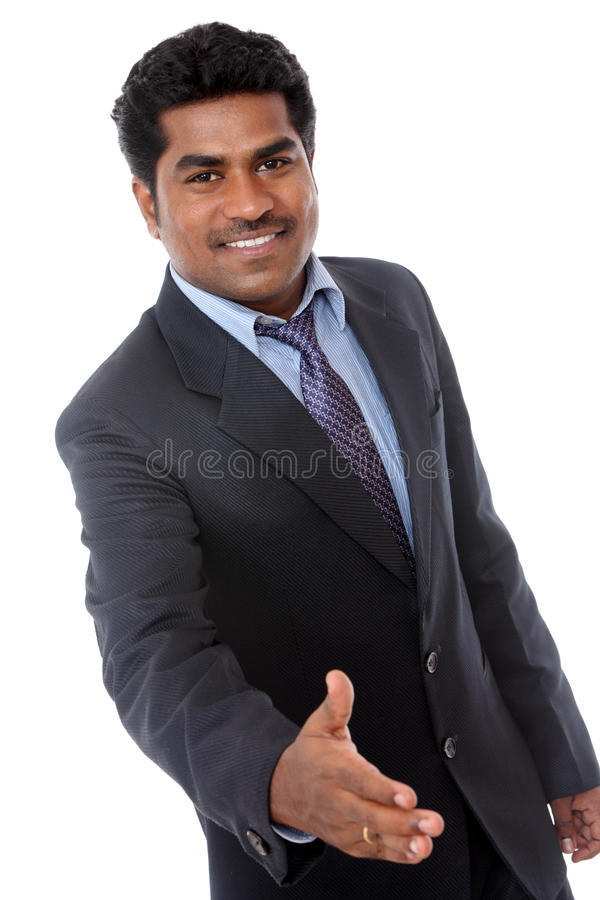 Indian Business Man Giving Handshake Stock Images
