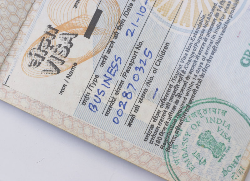 Indian business visa. A businessman's visa for India, issued in Doha, Qatar royalty free stock photos