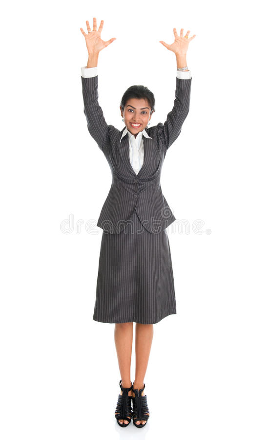 Indian business woman arms raised royalty free stock photos