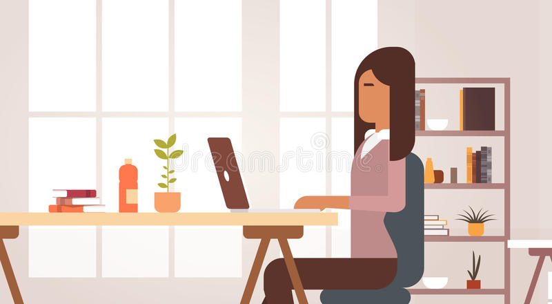 Indian Business Woman Sitting Desk Working Laptop Computer Businesswoman Office vector illustration