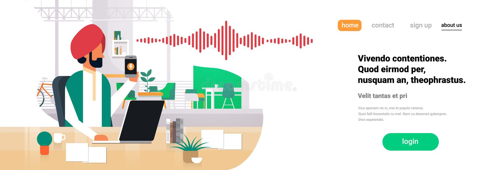 Indian businessman hold phone intelligent voice personal assistant recognition sound waves technology concept office. Interior background horizontal banner copy vector illustration