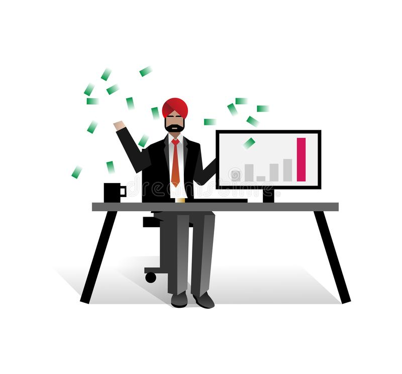 Free Indian Businessman Throwing Money In The Air Royalty Free Stock Photos - 114513898