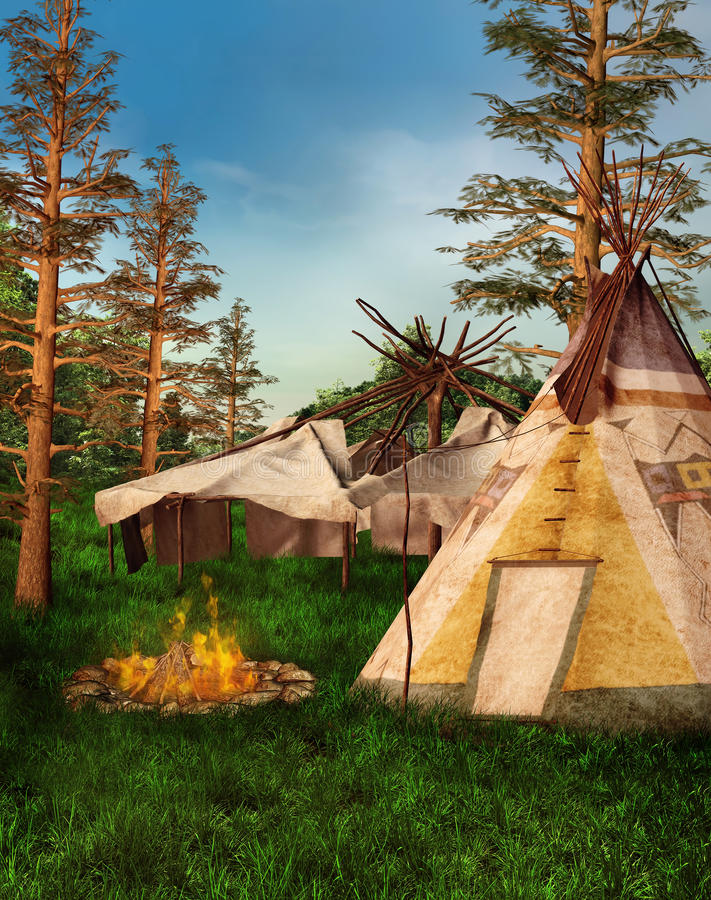 Indian Camp In The Forest Stock Photos