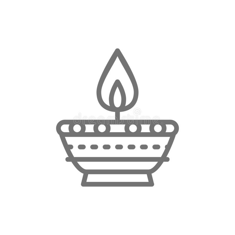 Indian candle, Diwali Diya oil lamp line icon. royalty free illustration