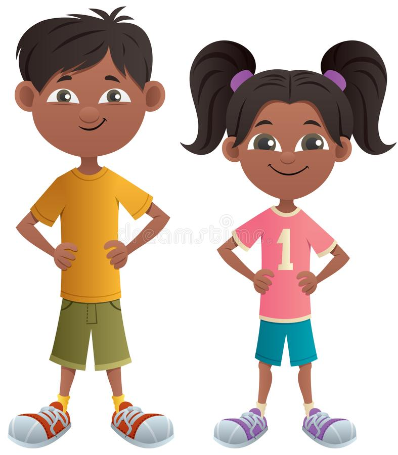 Boy and Girl Indian. Indian cartoon boy and girl posing standing royalty free illustration