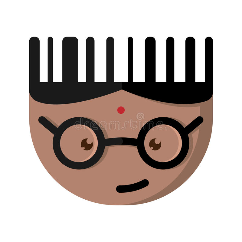 The Indian cartoon character with glasses. Bar code in the form of cartoon character with glasses vector illustration