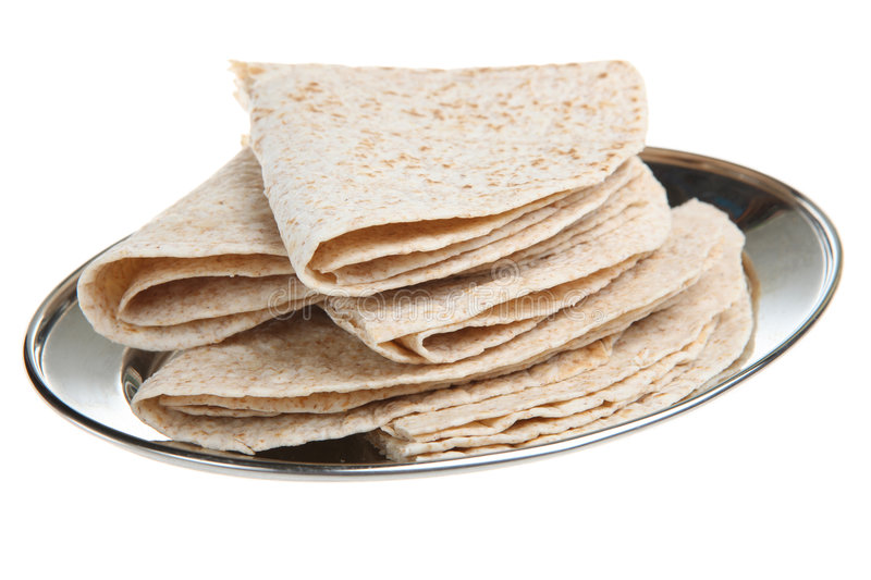 Indian Chapati Breads. Indian chapati bread on a stainless steel serving platter stock image