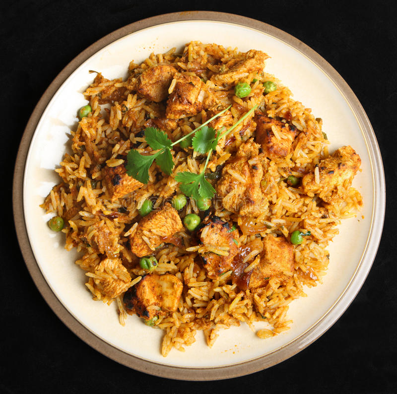 Indian Chicken Biriyani Curry Food. Indian chicken tikka briyani curry meal royalty free stock photos