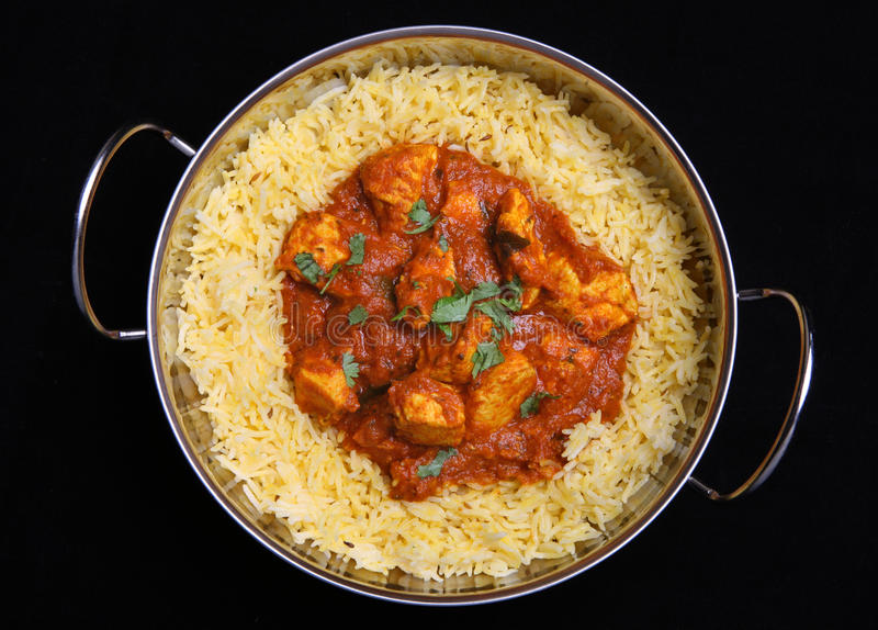 Indian Chicken Curry & Rice Royalty Free Stock Photos