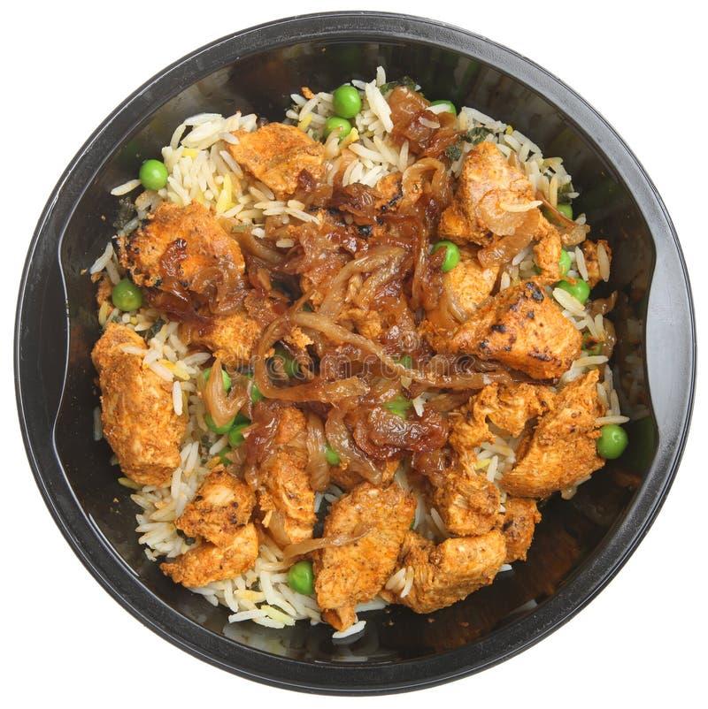Indian Chicken Tikka Biriyani Ready Meal. Indian chicken tikka biriyani convenience meal stock image