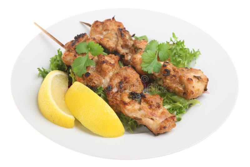 Indian Chicken Tikka Kebabs royalty free stock photography