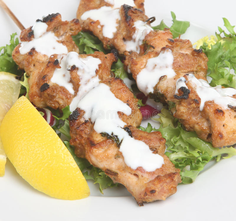 Indian Chicken Tikka Kebabs royalty free stock photos