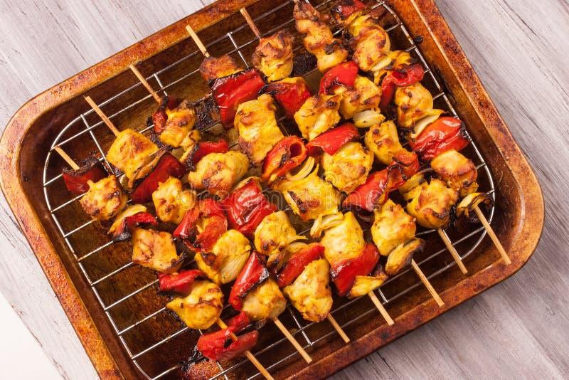 Indian chicken tikka kebabs royalty free stock photo