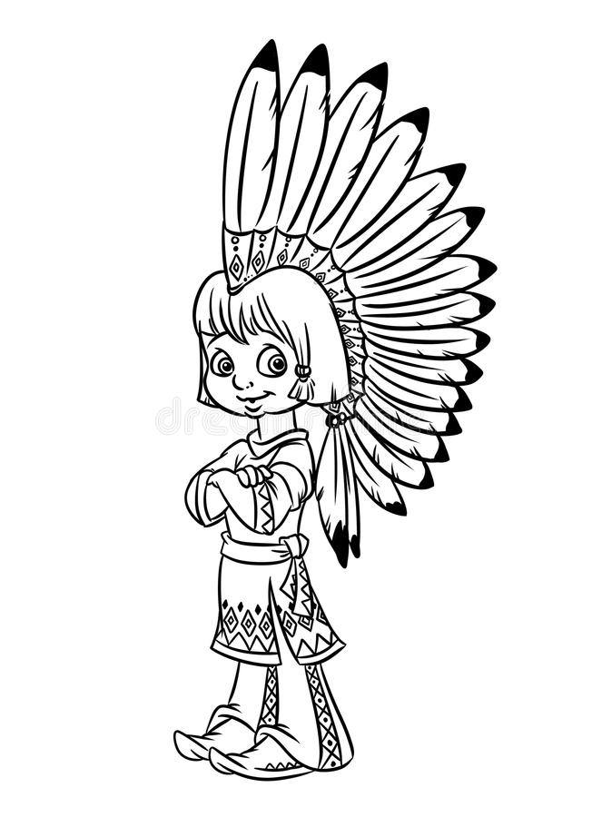 Indian Chief Boy Illustration Coloring Pages Stock Illustration ...