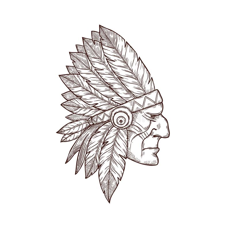 Indian chief head sketch tattoo Indigenous culture stock illustration