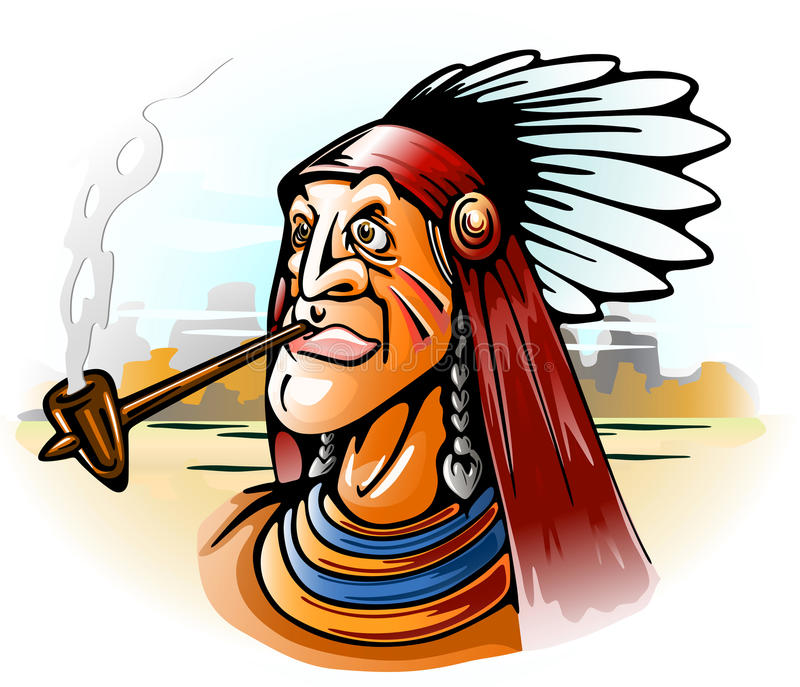 Download Indian chief smoking tube stock vector. Illustration of leader - 14122036