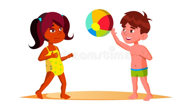 Indian Child Girl And European Boy In Beach Suits Playing Ball On The Beach Vector. Isolated Illustration vector illustration