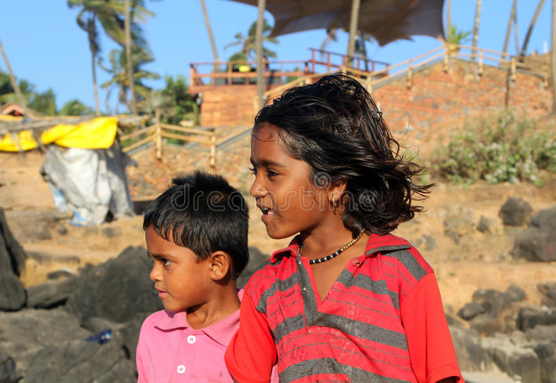 Indian children on the beach of North Goa stock photography