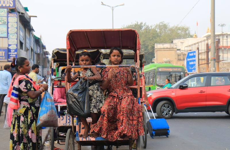 Rickshaw Indian children New Delhi India royalty free stock image